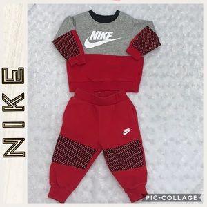 Nike • Red & Gray Sweatsuit Set • 12 months
